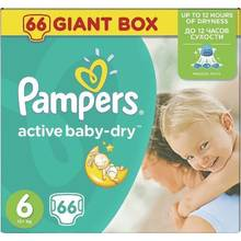 PAMPERS ACTIVE BABY DRY ΜΕΓ 6 1x66 GIANT